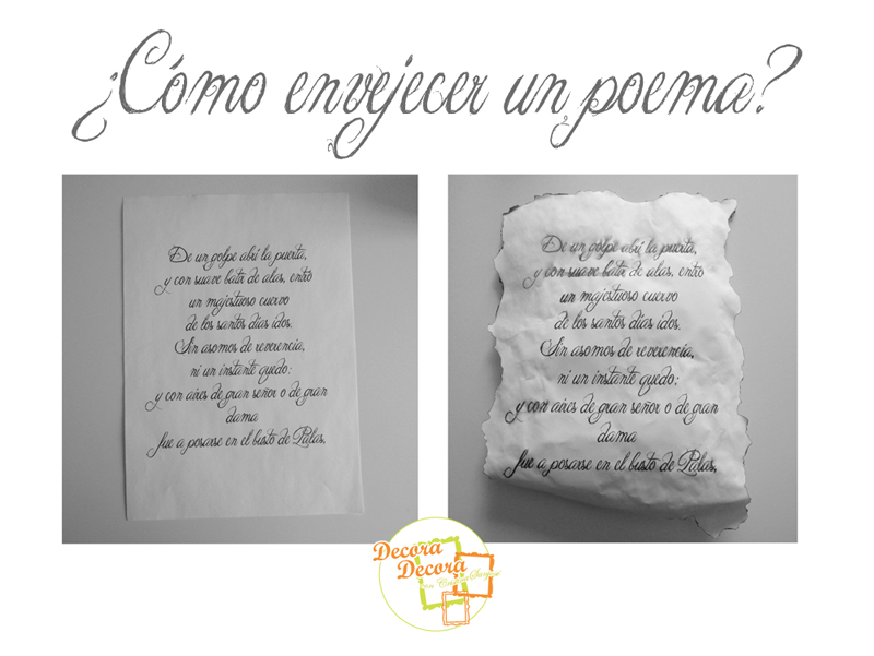 Envejecer un poema para decorar for Decoracion para pared san valentin