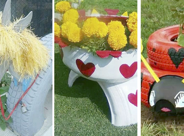Decorar el jard n con ruedas - Ideas para decorar mi jardin ...