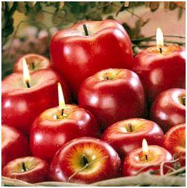 velas para navidad en forma de manzana