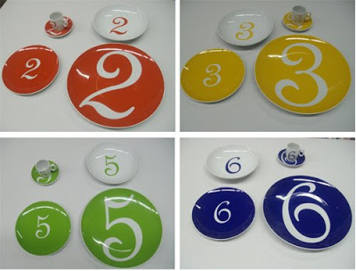 vajillas decoradas con números