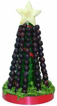 un arbol de navidad hecho con uvas para nochevieja