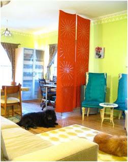 un separador, una forma alternativa para decorar con telas