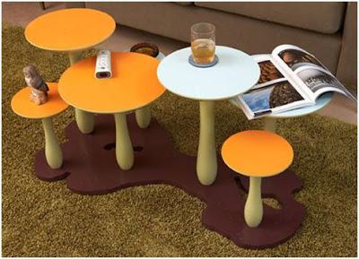 decorar con mesas en forma de setas