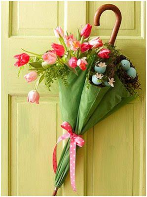 decorar con paraguas y flores