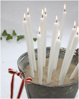 centro de mesa con velas para navidad