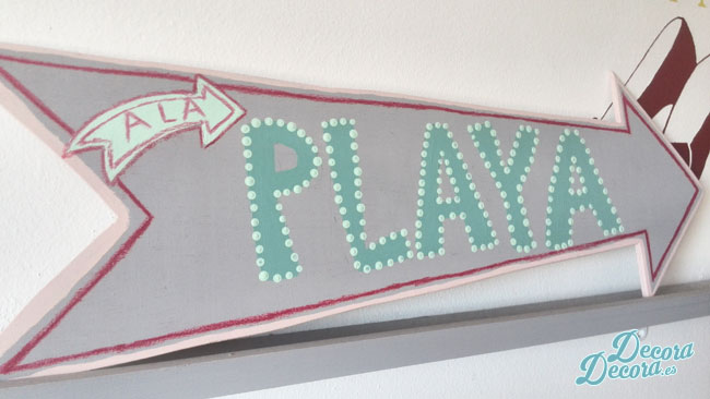 """Cartel """"a la playa"""" DIY."""