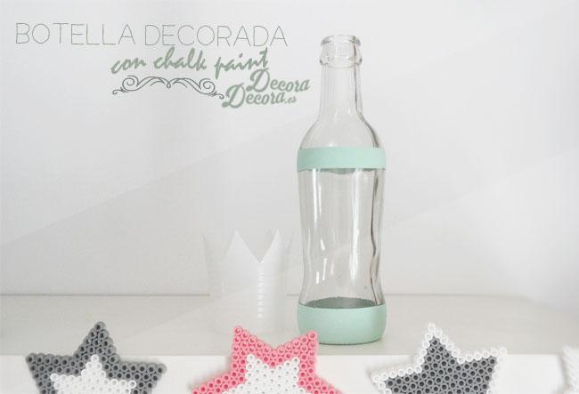 Botella decorada con chalk paint