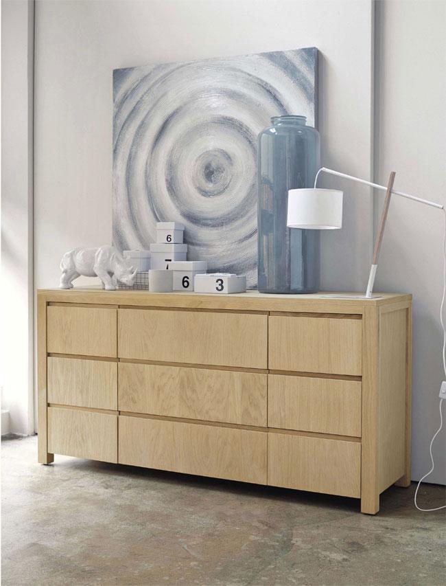 Blanco y madera lámpara
