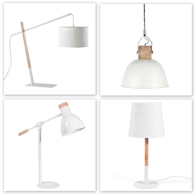 Lámparas de blanco y madera.