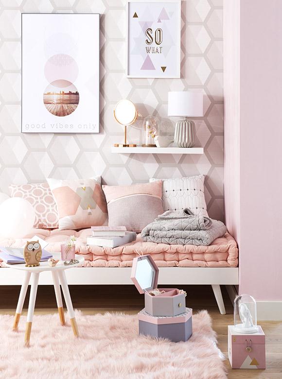 Decoración con colores pastel y formas geometricas