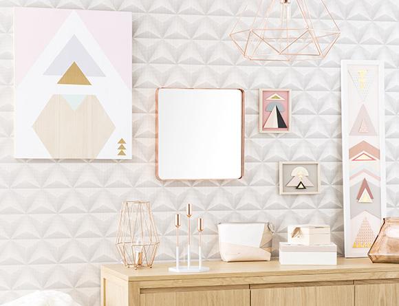 Decorar con colores pastel y formas geométricas