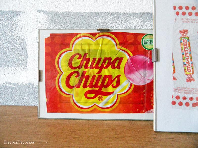 Láminas hechas con envoltorios de Chupa Chups