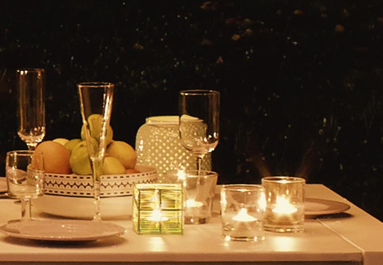 Iluminación mesa exterior