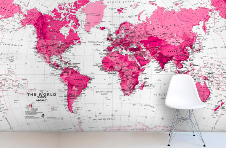 Decorar paredes con mapas y planos