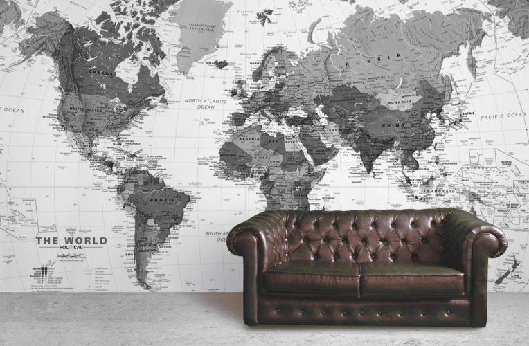 Decorar paredes con mapas
