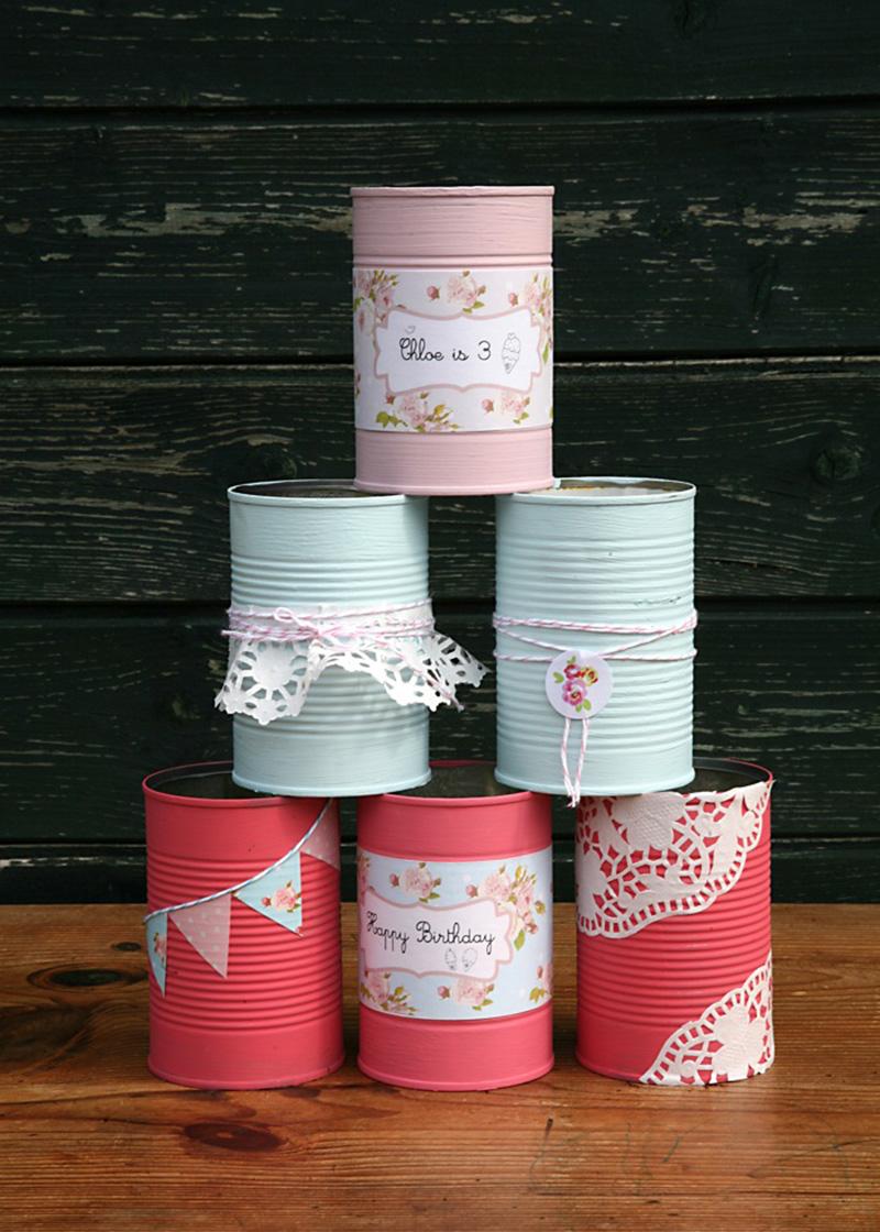 juego de verano decorando latas