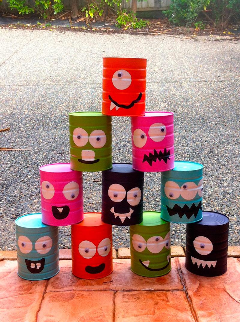 juegos de verano con latas decoradas